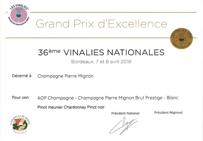 Grand Prix d'Excellence 2018 - 36ème Vinalies Nationales